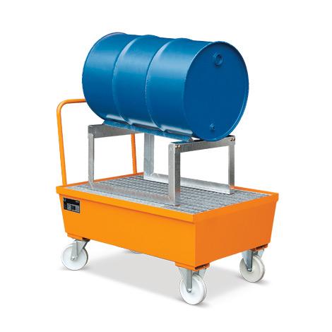 Fahrbare Auffangwanne mit Fassbock, Volumen 225 Liter