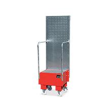 Fahrbare Auffangwanne mit Lochplatte, Max. Anzahl Fässer x Liter: 1 x 60, L x B: 570 x 575 mm