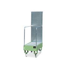 Fahrbare Auffangwanne mit Lochplatte, Max. Anzahl Fässer x Liter: 2 x 60, L x B: 875 x 500 mm