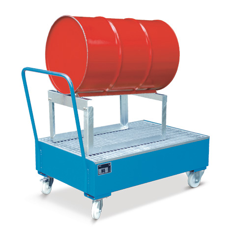 Fahrbare Auffangwanne mit verz. Fassbock, für 1 liegendes 200 Liter Fass