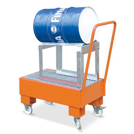 Fahrbare Auffangwanne mit verz. Fassbock, für 1 liegendes 60 Liter Fass