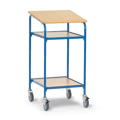 Fahrbares Stehpult fetra® mit Holzwerkstoffplatte 605x890 mm