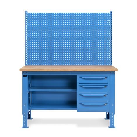Fami Werkbank, höhenverstellbar, mit Multiplexplatte Stärke 30 mm, Multifunktionswand, Schubladen und Rückwand mit Fachböden
