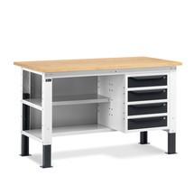 Fami Werkbank, höhenverstellbar, mit Multiplexplatte Stärke 30 mm, Schubladen und Rückwand mit Fachböden