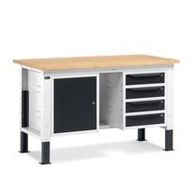Fami Werkbank, höhenverstellbar, mit Schubladen- und Schranksegment
