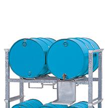 Fass-Aufbauregal RF aus Stahl. Für 200 oder 60 l Fässer