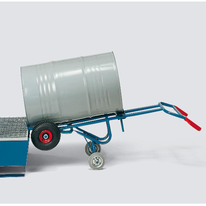 Fasskarre fetra® mit 2 Stützrollen, Tragkraft 300 kg, Vollgummi- oder Luftreifen