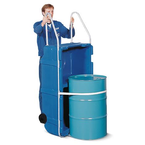 Fasskarre mit integrierter Auffangwanne aus Polyethylen für 200-l-Fässer