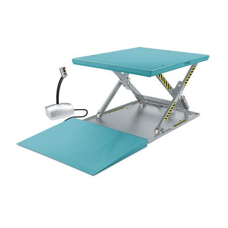 Flach-Scheren-Hubtisch Ameise® komplett mit Auffahrkeil, Tragkraft 1000kg