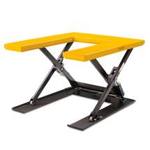 Flachform-Scheren-Hubtisch mit U-förmiger Plattform. Tragkraft 1000kg