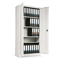 Flügeltürschrank Simplify für das Büro. Farbe weiß RAL 9016. Mit 4 Fachböden