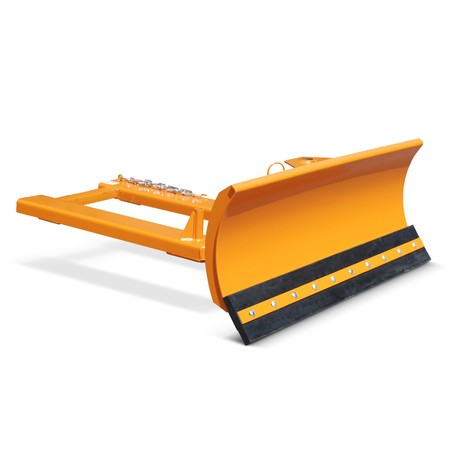 Fork lift snow shovel with rubber scraper, pendulum attachment