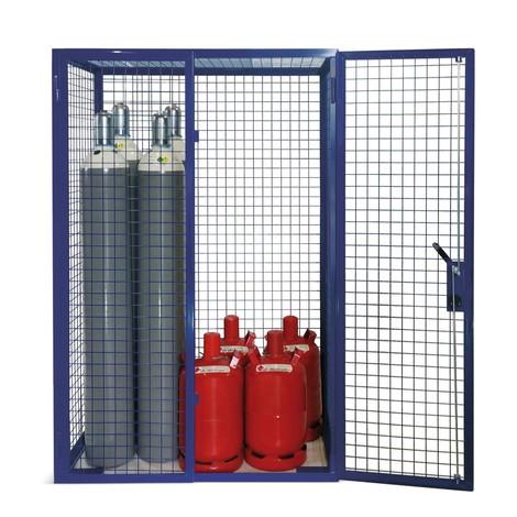 Gallerskåp för gasflaskor, dubbeldörr, sockelstöd