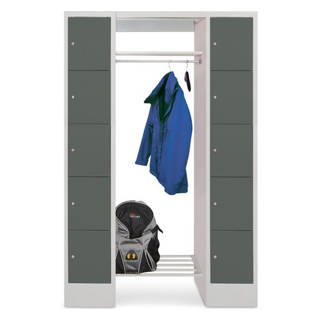 Garderoba ze schowkami PAVOY, zamek cylindryczny, 2 x 5 schowków, wys. xszer. xgł. 1850 x1200 x500mm