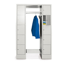 Garderobe PAVOY®,Schließfächer 5 li+10 re,Drehverschl,1500mm