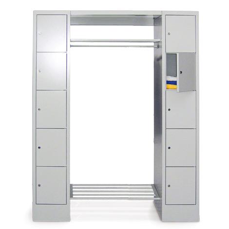 Garderobe PAVOY®,Schließfächer 5 li+10 re,Drehverschl,2000mm