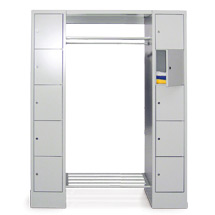 Garderobe PAVOY®,Schließfächer 5 li+10 re,Zylinder, 2000mm