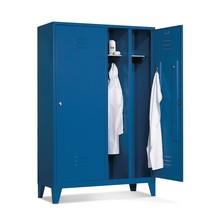 Garderobekast, 2 dubbele compartim+poten+cilinderslot,1210mm