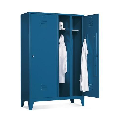 Garderobekast, 2 dubbele compartim+poten+draaivergr., 1210mm