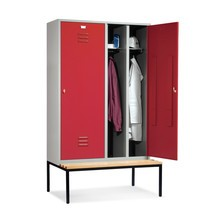 Garderobekast C+P Classic met zitbank, met dubbel compartiment, 4 compartimenten van 300 mm, 1 deur per dubbel compartiment met cilinderslot
