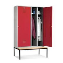 Garderobekast C+P Classic met zitbank, met dubbel compartiment, 4 compartimenten van 300 mm, 1 deur per dubbel compartiment met draaivergrendeling