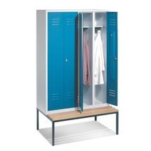 Garderobekast C+P Classic met zitbank, met dubbel compartiment, 4 compartimenten van 300 mm, 2 deuren per dubbel compartiment met draaivergrendeling
