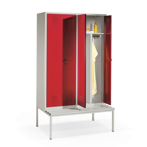 Garderobekast met zitbank C+P Evolo, met dubbel compartiment, 1 compartiment van 400 mm, cilinderslot