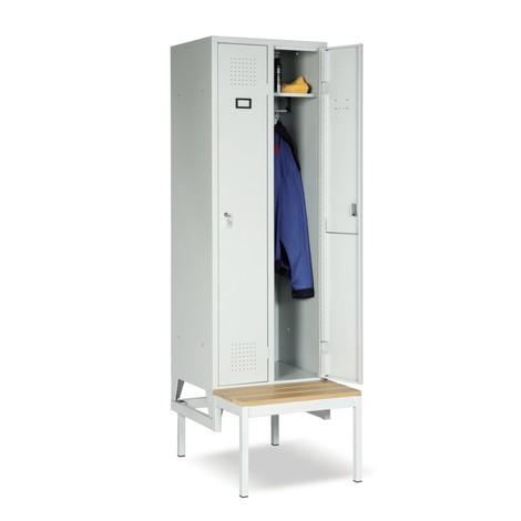 Garderobekast met zitbank Portofino, 2 compartimenten van 300 mm, cilinderslot