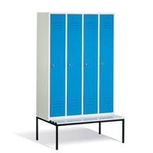 Garderobekast, onderbouwbank kunststof+draaivergr, 4x300 mm