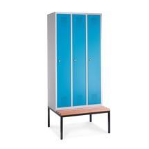 Garderobekast, onderbouwbank + ventilatieopeningen, 3x400mm