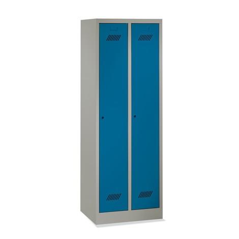 Garderobekast PAVOY met sokkel + draaivergrendeling, 3 compartimenten, hxbxd 1.850 x 1.230 x 500 mm