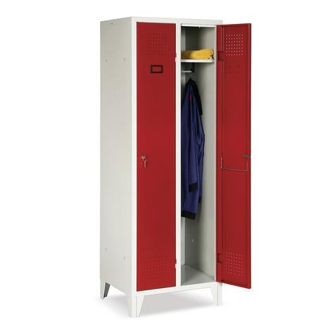 Garderobekast Portofino, 3 compartimenten, hxbxd 1.800 x 907 x 500 mm, met poten