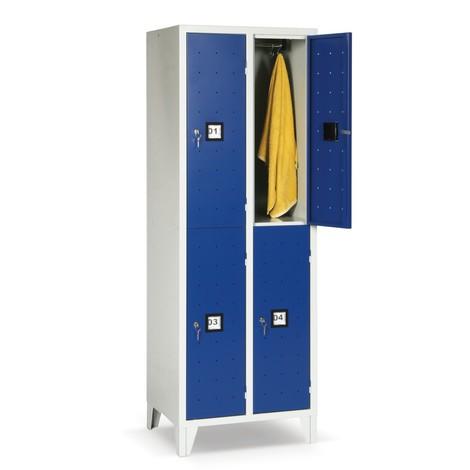 Garderobekast Portofino met ventilatiegaten, 2 etages, 4 vakken, hxbxd 1.800 x 810 x 500 mm, met poten