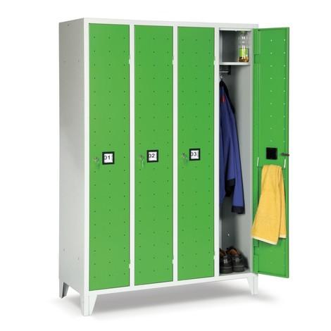 Garderobekast Portofino met ventilatiegaten, 3 compartimenten, hxbxd 1.800 x 907 x 500 mm, met poten