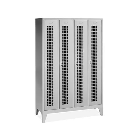 Garderobekast, poten+gaten+draaivergrendeling, 4x300 mm