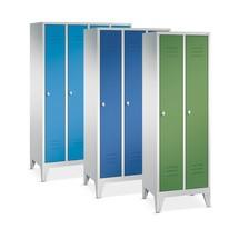 Garderobekast, poten+gleuven+draaivergrendeling, 2x400 mm