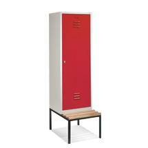 Garderobenschrank, 1 Doppelabteil+1 Tür+Bank+Zylinder, 610mm