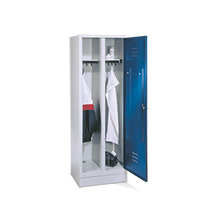 Garderobenschrank, 1 Doppelabteil+Füße+Drehverschlu, 610 mm