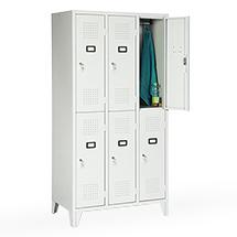 Garderobenschrank, 1800x1200x500, Füße, Abteilbreite 400mm, doppelstöckig