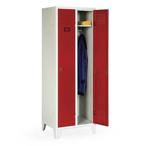 Garderobenschrank, 1800x1200x500, Füße, Abteilbreite 400mm, durchgehend