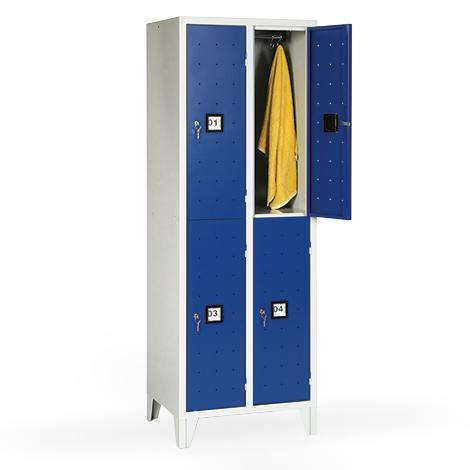 Garderobenschrank, 1800x810x500, Füße, Abteilbreite 400mm, doppelstöckig