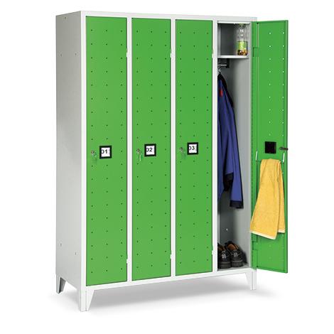 Garderobenschrank, 1800x907x500, Füße, Abteilbreite 300mm, durchgehend