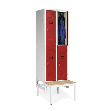 Garderobenschrank, 2100x615x500, Bank, Abteilbreite 300mm, doppelstöckig