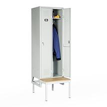 Garderobenschrank, 2100x615x500, Bank, Abteilbreite 300mm, durchgehend
