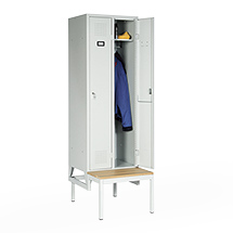 Garderobenschrank, 2100x810x500, Bank, Abteilbreite 400mm, durchgehend