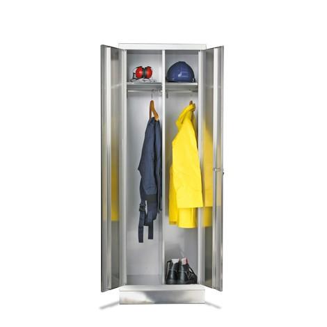 Garderobenschrank aus Edelstahl mit 2 Kleiderstangen