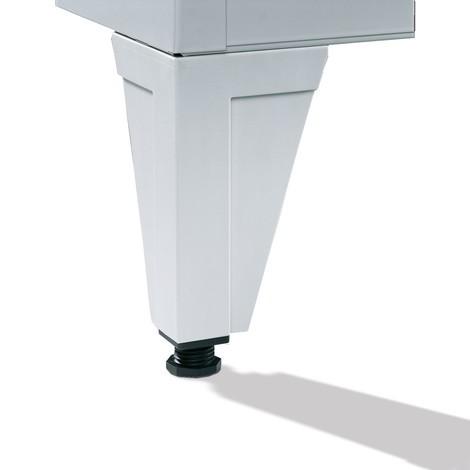 Garderobenschrank C+P Classic mit Füßen, Lochfeld + Zylinderschloss, 4 Abteile, HxBxT 1.850 x 1.600 x 500 mm