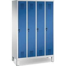 Garderobenschrank C+P Classic mit Füßen, Zylinderschloss, 4 Abteile, HxBxT 1.850 x 1.600 x 500 mm