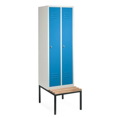 Garderobenschrank C+P Classic mit untergebauter Sitzbank aus Holz, 2 Abteile à 400 mm, Drehriegelverschluss