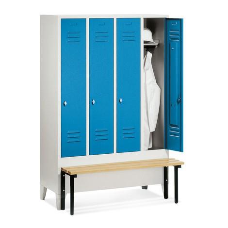 Garderobenschrank C+P Classic mit vorgebauter Sitzbank aus Holz, 4 Abteile à 300 mm, Zylinderschloss